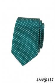 Grüne, schmale Krawatte mit Punkten