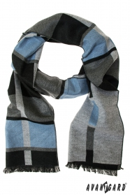 Eleganter grauer Schal mit hellblauem Streifen