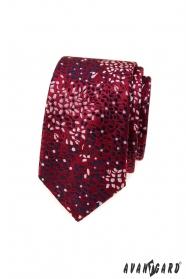 Burgunderrote schmale Krawatte mit Blumenmuster