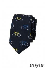 Blaue schmale Krawatte, buntes Fahrradmuster